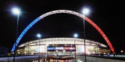 The Wembley arch is lit up in the colours of the French flag in memory of those killed in the Paris attacks