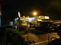 The TV vans behind the ground