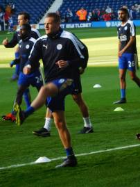 The man of the moment Jamie Vardy warms up