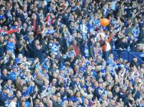 The Leicester fans celebrate