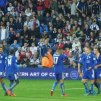 Jamie Vardy celebrates his 11th goals of the season