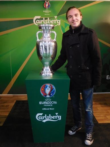 with the European Championship trophy that will be lifted in France in July