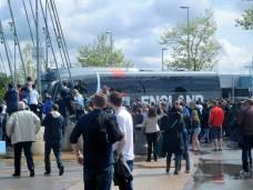The England team arrives