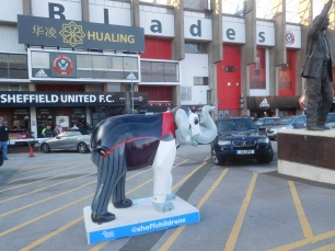 One of the 'Herd of Sheffield' elephants outside Bramall Lane