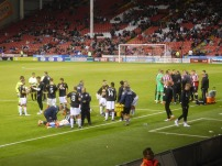 Preparing for extra time, in which Crewe would go on to win