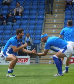 Ched Evans and Ian Evatt warming up